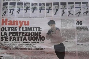 La Gazetta dello Sport紙より「羽生、限界を越えて:『完璧』が人間になった」